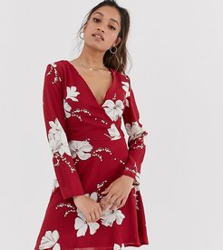 floral wrap dress-Red