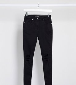 skinny jeans with ripped knee in black