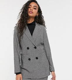 tailored longline double breasted blazer in gray