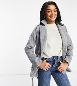 tie waist double breasted jacket in gray-Grey