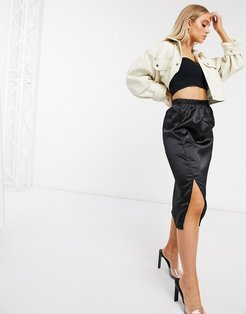 satin midi skirt with splits in black