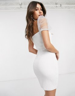 shirred mini dress with organza sleeves in white