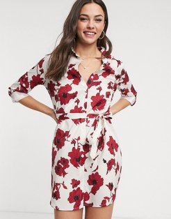 shirt dress in bold floral-Multi