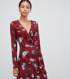 floral wrap dress with frill-Red