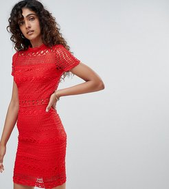 High Neck Short Sleeve Lace Shift Dress-Red