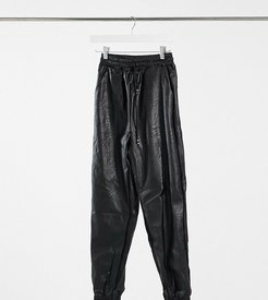 PU sweatpants in black
