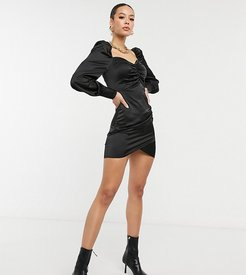 puff sleeve ruched front mini dress in black