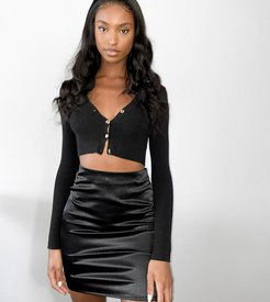 satin mini skirt in black