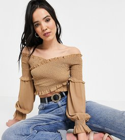 shirred crossover wrap crop top in taupe-Neutral
