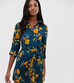 shirt dress with tie waist in navy floral