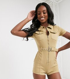 utility romper with belted waist in stone