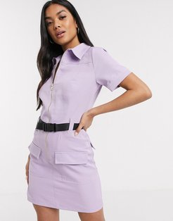 utility mini dress with seat belt buckle in lilac-Purple