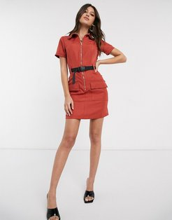 utility mini dress with seat belt buckle in rust-Red
