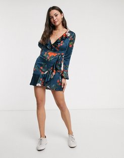 wrap dress with ruffle in floral print-Navy