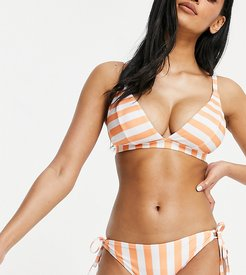Fuller Bust Exclusive mix and match tie side bikini bottom in coral stripe-Orange