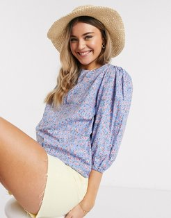blouse with puff sleeves in blue ditsy floral-Multi
