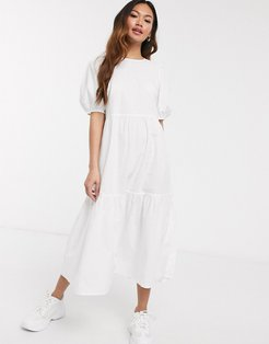 cotton midi smock dress with puff sleeve in white