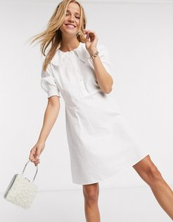 shirt dress with frill collar in white