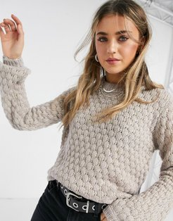 textured sweater in pale lilac-Black