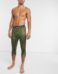Fall-Line base layer 3/4 pants in Jungle Palm-Multi