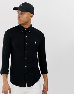 slim fit pique shirt with button down collar in black