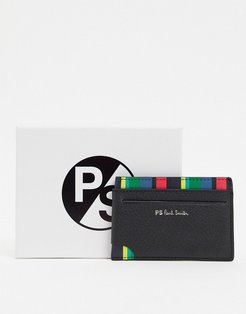 striped leather card holder in black