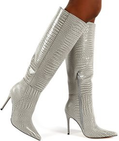 Aimi knee boots in gray croc-Grey