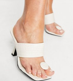 Public Desire Gaia Wide Fit heeled sandals with toe post in bone croc-White