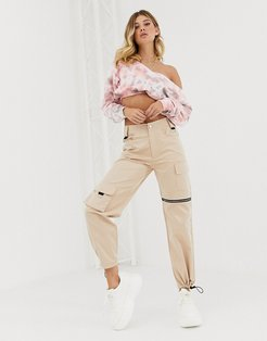 relaxed cargo pants with zip and pocket detail-Neutral
