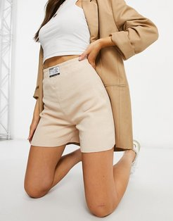 statement waffle boxer shorts in beige