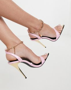 Triumph heeled sandals with padlock anklet in pink-Purple