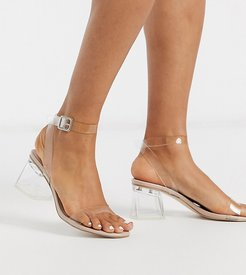 Afternoon clear block heeled sandal in beige patent