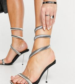 Axel heeled sandals with silver plating in black