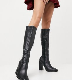 Caryn stretch knee boot with toe plating in black