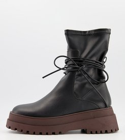 Finale chunky flat ankle boots with tie in black and brown