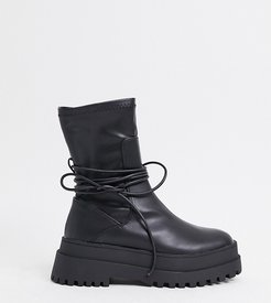 Finale chunky flat ankle boots with tie in black