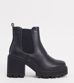 Fuzzy chunky heeled ankle boot in black