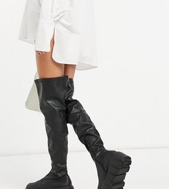 Lingo chunky over the knee boots in black