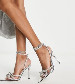 Midnight heeled shoes with rhinestone bow detail in clear-Silver
