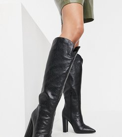 Slow knee high boots in black snake