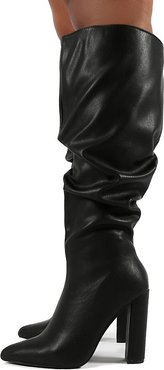 yours black slouchy knee boots in black