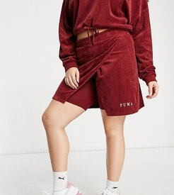 plus cord skirt in red- exclusive to ASOS