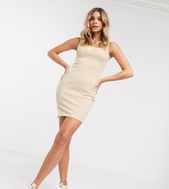 ribbed mini dress in beige - exclusive to ASOS-Gray