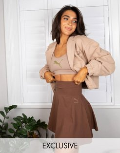 x Stef Fit mini skirt with foldable waist in pinecone - Exclusive to ASOS-Brown
