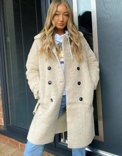 belted borg coat in stone