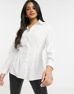 cinched waist shirt in white