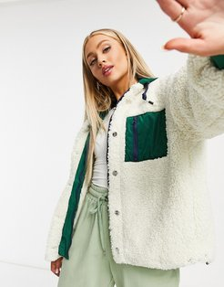 oversized teddy jacket with paneling in cream