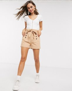 paperbag waist twill shorts in camel-White