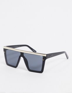 Hindsight visor sunglasses in black with gold trim