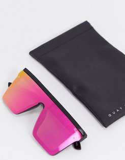 Hindsight visor sunglasses in black with multicoloured lens